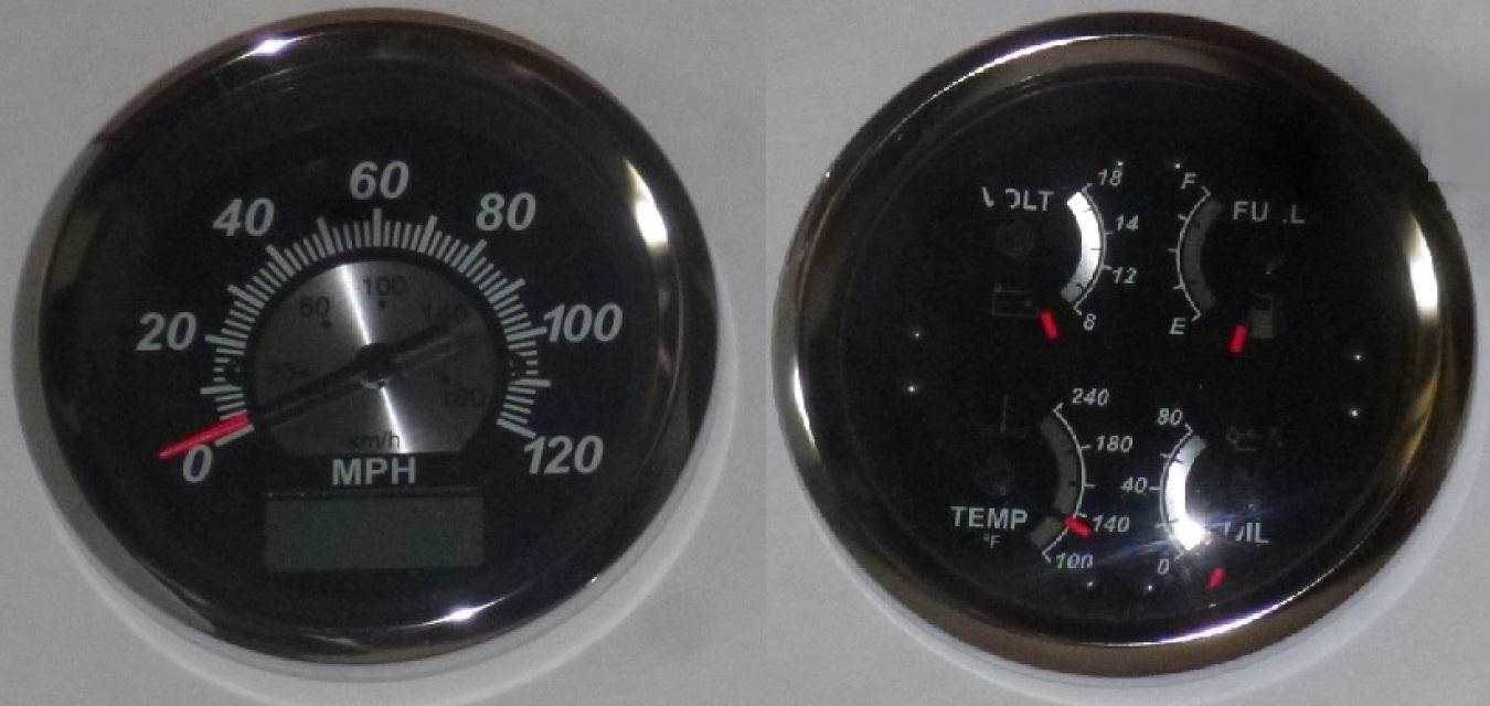 veethree speedometer  quad gauge black sterling gps gauge