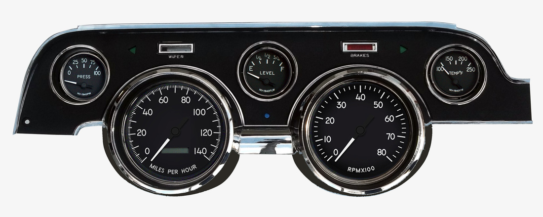 _67/68 mustang gauge panel kit 1940 series programmable speedo black dash  40707-01
